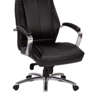 Proline Mid-back Leather Chair - Black